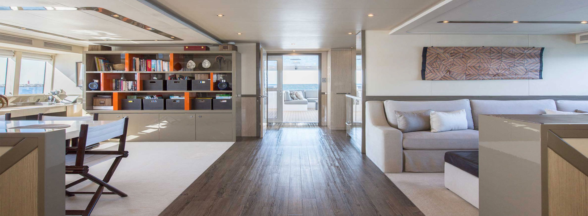 Ocean-Dream-library-lounge-interior-Perth-luxury-boat-charters