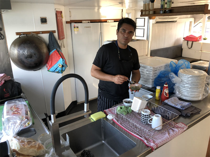 BLUESUN catering Rodney in galley kitchen