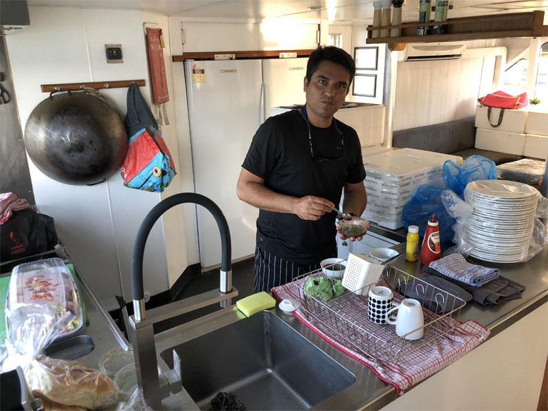 BLUESUN catering Rodney in galley kitchen