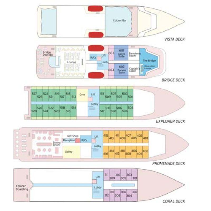 CORAL ADVENTURER deck plans box