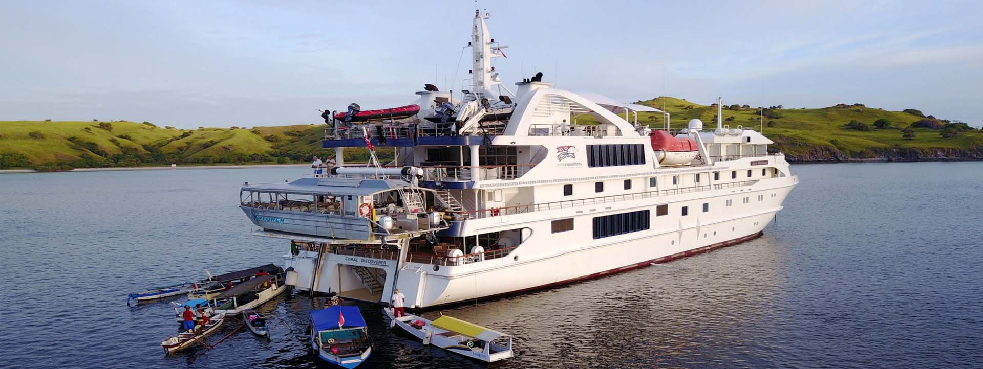 CORAL DISCOVERER bay rear view aerial Kimberley cruises