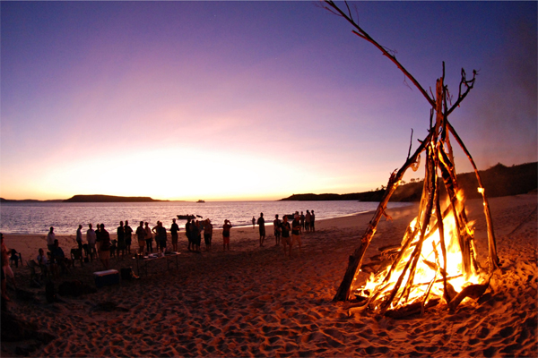 ECO ABROLHOS beach fire Kimberley cruise