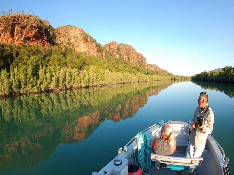 ECO ABROLHOS guest in tender Kimberley cruise