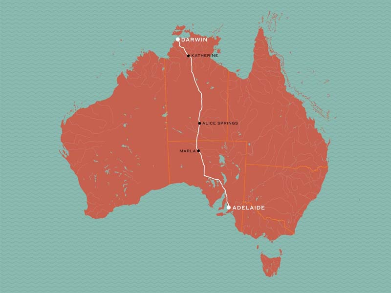 GHAN MAP Adelaide to Darwin