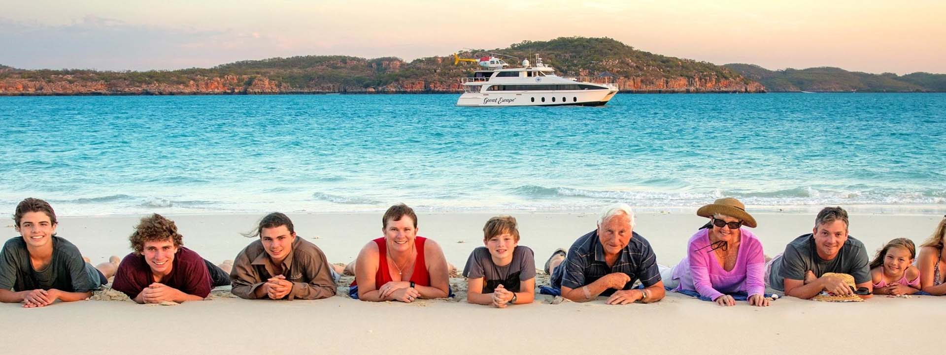 GREAT ESCAPE CRUISE DATES kimberley cruise family on beach