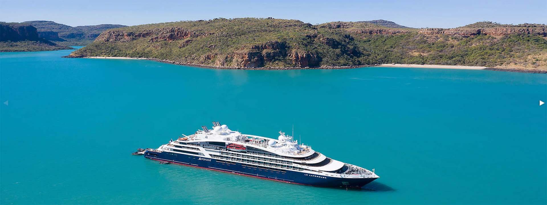 LE LAPERPOUSE Kimberley coast cruises aerial drone photo