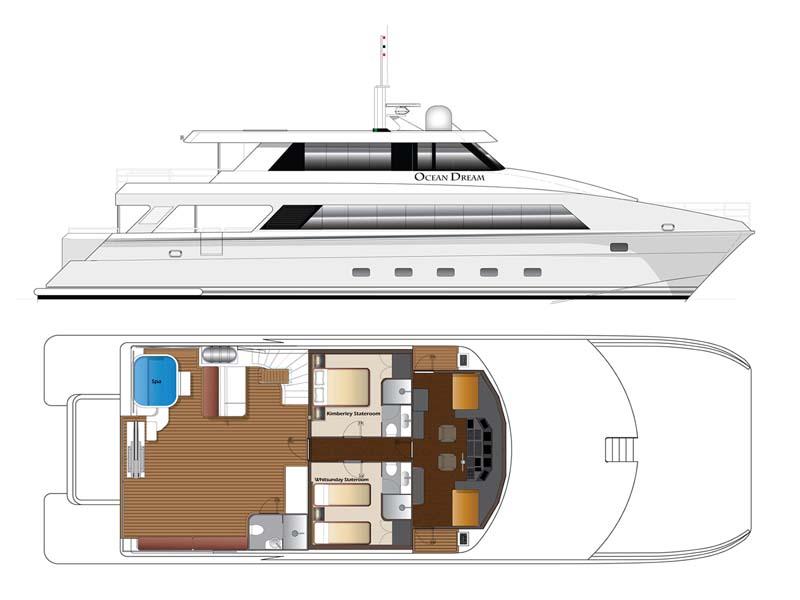 OCEAN DREAM Fly Bridge Deck plans