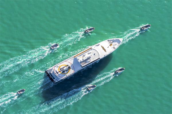 TRUE NORTH Kimberley cruise tenders around vessel aerial