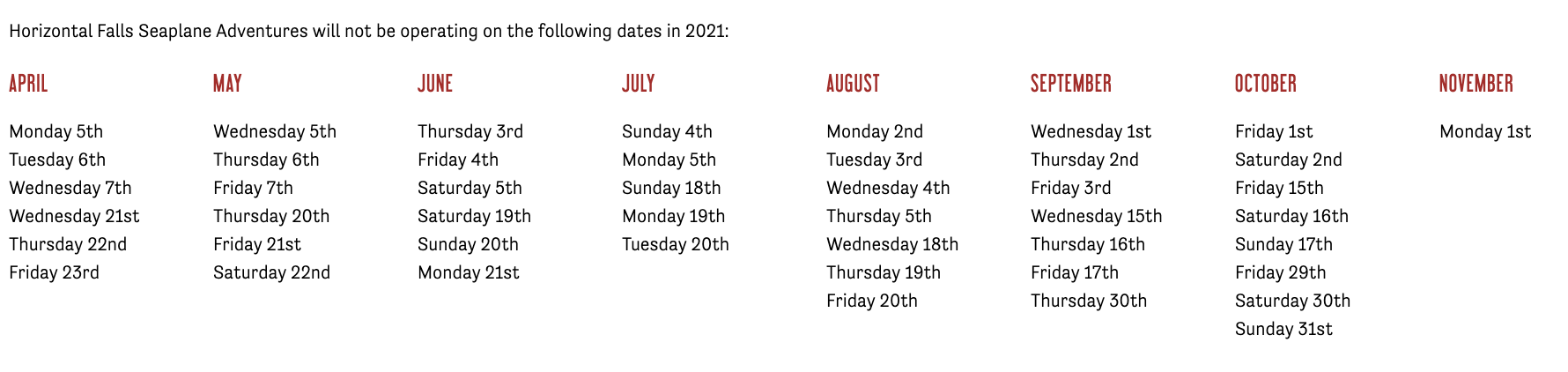 NEAP TIDE DATES 2021