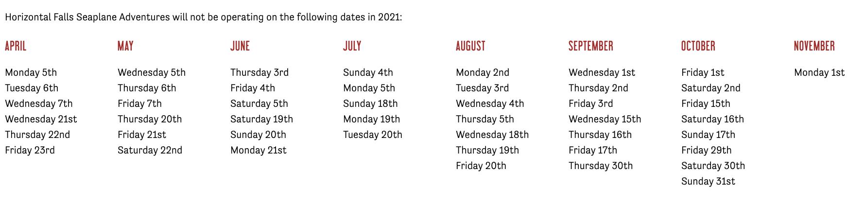 NEAP TIDE DATES 2021