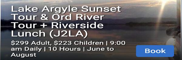 LAKE ARGYLE SUNSET TOUR AND ORD RIVER TOUR RIVESIDE LUCH J2LA